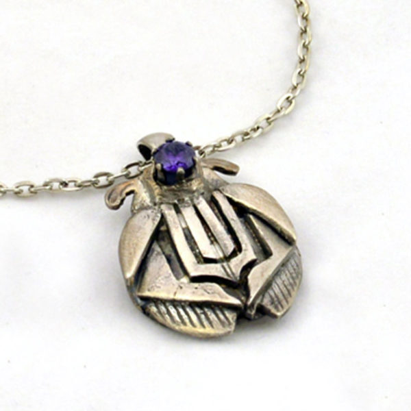 Silver Bug Pendant with Amethyst