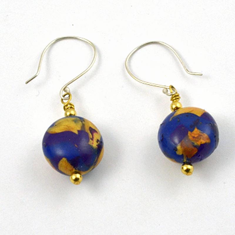 image of Blue Gold Dangle Earrings