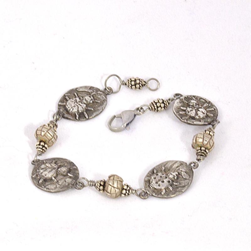 Silver charm bug bracelet