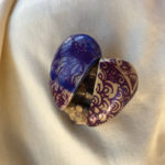 Heart Shaped Pin in Purple, Blue and Gold