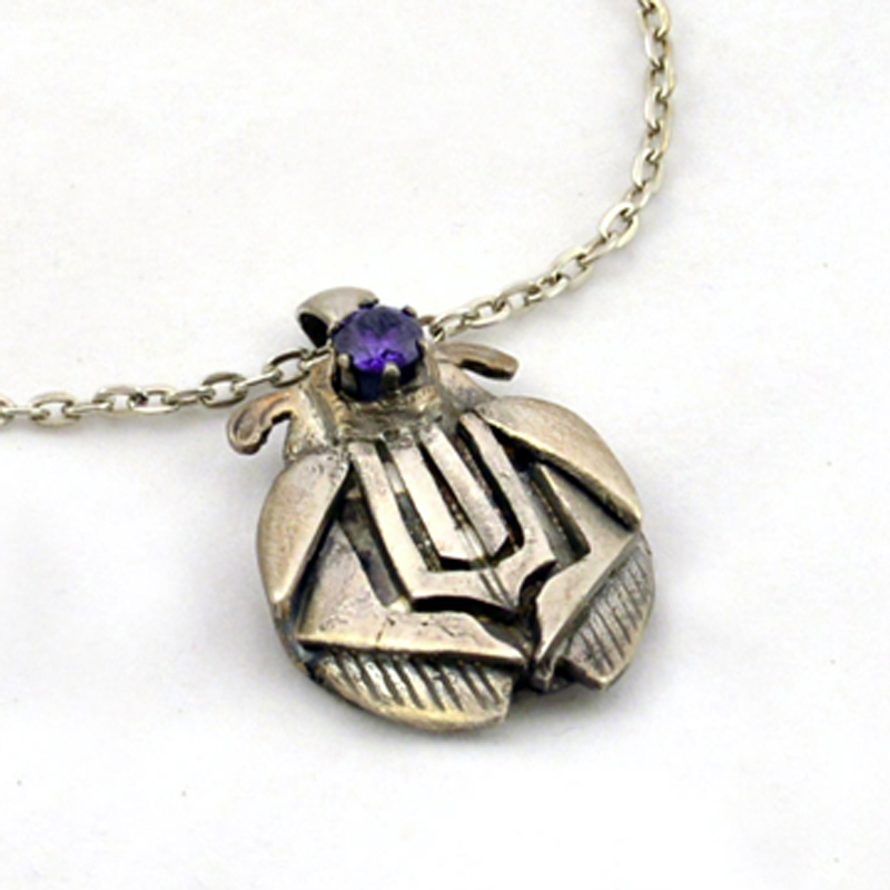 Art Deco Silver Pendant with Amethyst