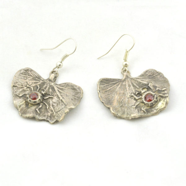 Lady bug silver earrings