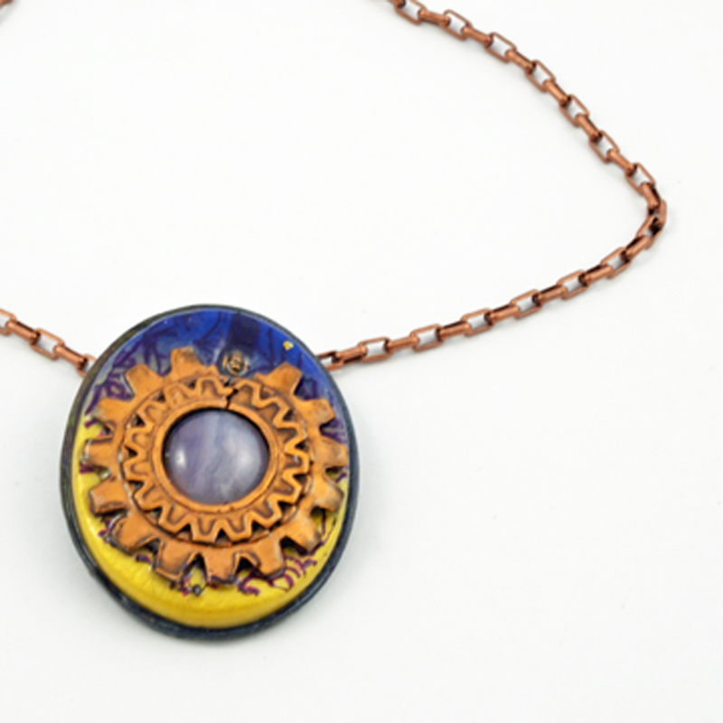 Blue and Gold Copper Pendant