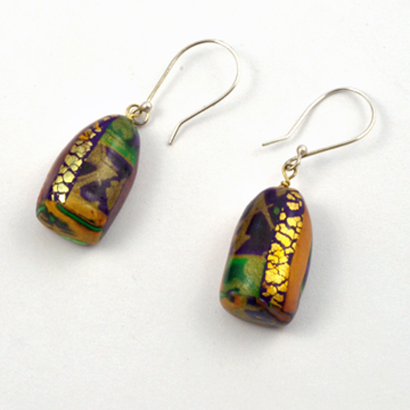 Colorful Earrings Gold Accents