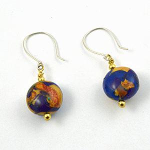 Blue Gold Dangle Earrings