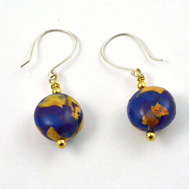 Blue Gold Dangle Earrings