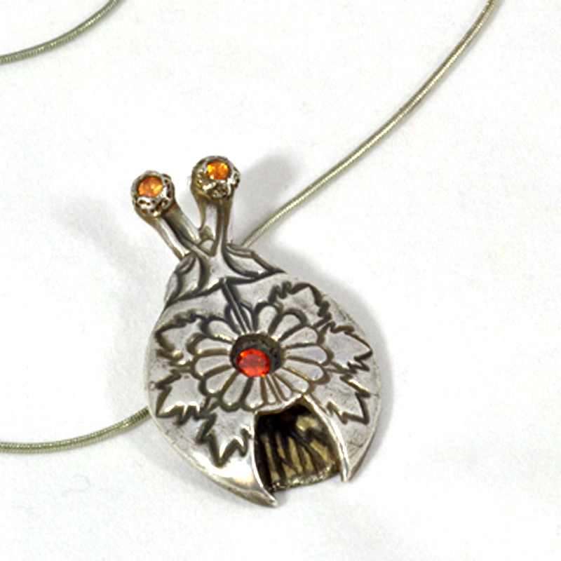 Mexican Motif Silver Bug Necklace