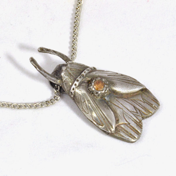 Amber CZ in Silver Bug Pendant