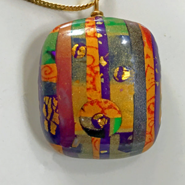 image of vibrant stripes, bright circles pendant