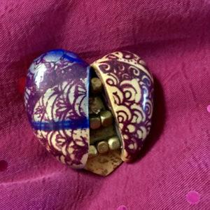 Heart Shaped pin-brooch in purple, blue, gold