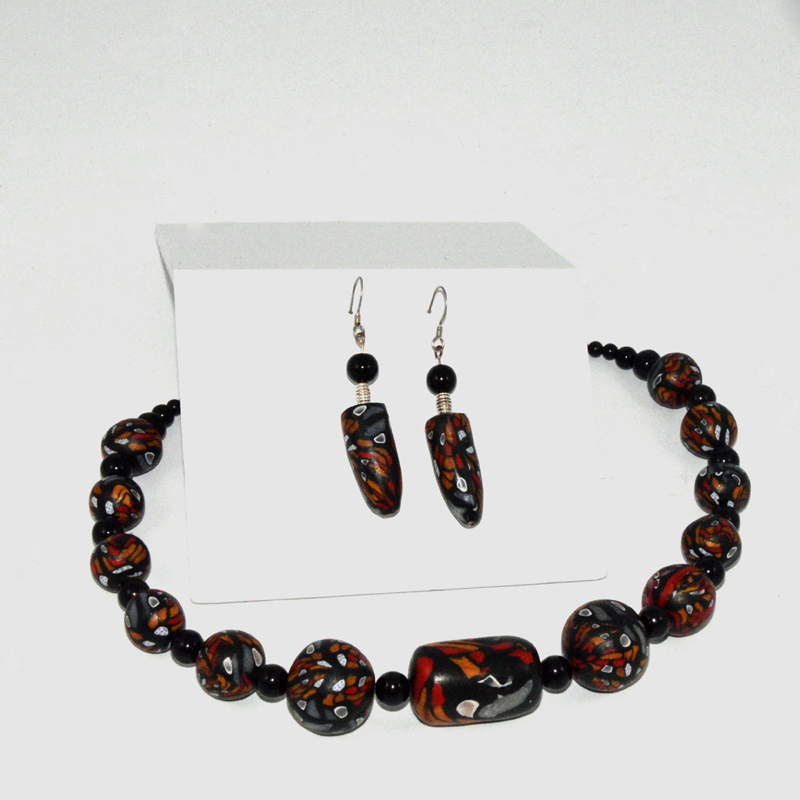 Jewelry Set- Black Necklace-Earrings
