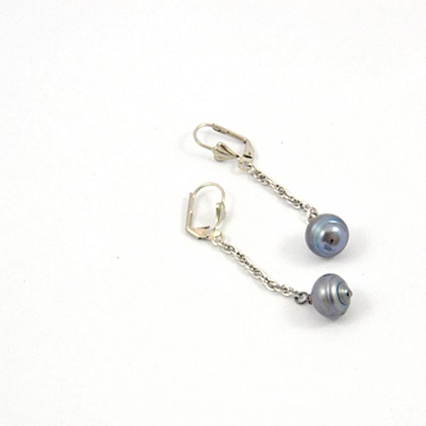 Gray Pearl Dangle Earrings