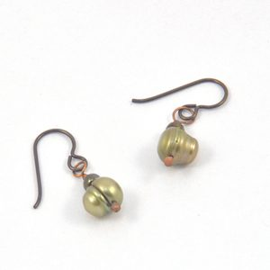 image of green pearl dangle earrings
