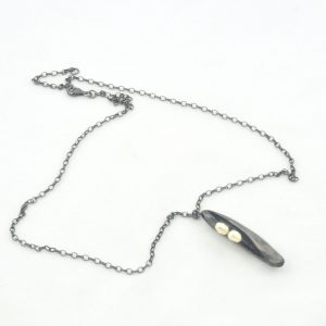 Pearls in Steel Pod Pendant Necklace