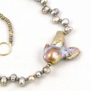 Unique Gray Pearl Necklace