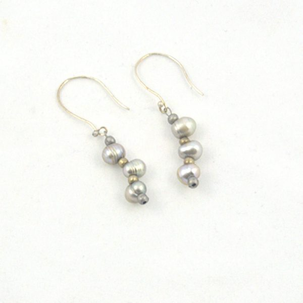 Gray Baroque Pearl Earrings