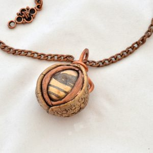 Unfolding Metal Clay Bronze Pendant